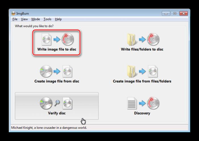 Write image file to disc